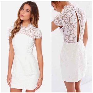 NWOT Keepsake ivory lace cap sleeve sheath dress